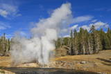 Eruption of Riverside Geyser, Firehole River, Upper Geyser Basin Photographic Print by Eleanor Scriven