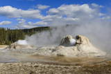 Rocket and Grotto Cone Geysers Erupt, Upper Geyser Basin, Yellowstone National Park, Wyoming, Usa Photographic Print by Eleanor Scriven
