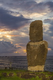 A Single Moai at Fisherman's Harbor in the Town of Hanga Roa Photographic Print by Michael Nolan