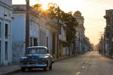 Street Scene at Sunrise with Vintage American Car, Cienfuegos, Cuba Photographic Print by Lee Frost