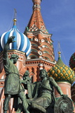 Statue of Minin and Pozharskiy and the Onion Domes of St. Basil's Cathedral in Red Square Photographic Print by Martin Child