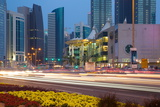 Contemporary Architecture and Traffic at Dusk in the City Centre, Doha, Qatar, Middle East Photographic Print by Frank Fell
