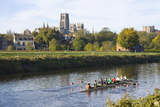 View across the River Wear to Durham Cathedral, Female College Rowers in Training, Durham Photographic Print by Ruth Tomlinson