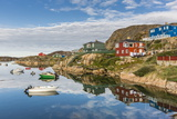 Calm Waters Reflect the Brightly Colored Houses in Sisimiut, Greenland, Polar Regions Photographic Print by Michael Nolan