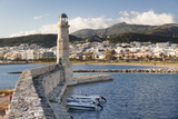 Lighthouse at Old Venetian Harbour, Rethymno (Rethymnon), Crete, Greek Islands, Greece, Europe Photographic Print by Markus Lange