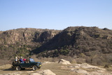 Tourists on Safari in Open Jeep, Ranthambore National Park, Rajasthan, India, Asia Photographic Print by Peter Barritt