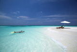 Couple Snorkelling in Maldives, Indian Ocean, Asia Photographic Print by Sakis Papadopoulos