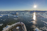 Expeditions Ship Amongst Huge Icebergs, Ilulissat, Greenland, Polar Regions Photographic Print by Michael Nolan