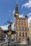 King Neptune Statue in the Long Market, Dlugi Targ, with Town Hall Clock, Gdansk, Poland, Europe Photographic Print by Michael Nolan