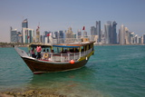 Small Boat and City Centre Skyline, Doha, Qatar, Middle East Photographic Print by Frank Fell