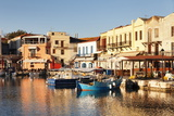 Old Venetian Harbour, Taverns on Seaside, Rethymno (Rethymnon) Photographic Print by Markus Lange