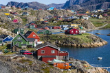View of the Brightly Colored Houses in Sisimiut, Greenland, Polar Regions Fotografisk trykk av Michael Nolan