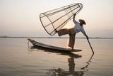 Intha Leg Rowing Fisherman at Dawn Sunrise, Inle Lake, Nyaungshwe Photographic Print by Stephen Studd