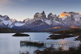 Boat Dock and Paine Mountains at Sunset, Torres Del Paine National Park, Patagonia Photographic Print by Eleanor Scriven