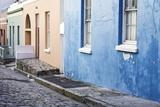 Pastel Colored Homes on Cobblestone Street in Bo-Kaap Residential District Lámina fotográfica por Kimberly Walker