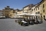 Restaurants in the Piazza Anfiteatro Romano, Lucca, Tuscany, Italy, Europe Photographic Print by Stuart Black