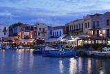 Old Venetian Harbour, Taverns on Seaside, Rethymno, Rethymnon, Crete, Greek Islands, Greece, Europe Photographic Print by Markus Lange