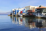 Little Venice Reflections, Mykonos Town (Chora), Mykonos, Cyclades, Greek Islands, Greece, Europe Photographic Print by Eleanor Scriven