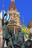 Minin and Pozharskiy Statue and the St. Basil's Cathedral in Red Square Illuminated in the Evening Photographic Print by Martin Child