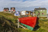 Brightly Painted Houses and Boat in Sisimiut, Greenland, Polar Regions Photographic Print by Michael Nolan