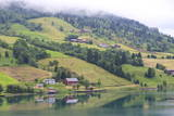 Fjordside Houses and Wooded Hills with Low Cloud, Nordfjord, Olden, Norway, Scandinavia, Europe Photographic Print by Eleanor Scriven