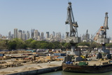 Main Docks with the High-Rises of the City Centre Beyond, Mumbai, India, Asia Photographic Print by Tony Waltham