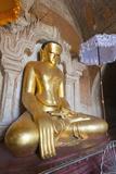 Buddha Statue, Htilominlo Pahto Temple, Bagan (Pagan), Myanmar (Burma), Asia Photographic Print by Christian Kober