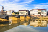 Ponte Alle Grazie over the River Arno, Florence (Firenze), Tuscany, Italy, Europe Photographic Print by Nico Tondini
