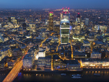 Aerial London Cityscape Dominated by Walkie Talkie Tower at Dusk, London, England Photographic Print by Charles Bowman