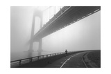 Verrazano Bridge In Fog - New York City Landmark Architecture With Runner Photographic Print by Henri Silberman