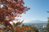 Mount Fuji, 3776M, UNESCO World Heritage Site, and Autumn Colours, Honshu, Japan, Asia Photographic Print by Christian Kober
