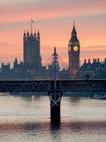 Big Ben with Hungerford Bridge at Sunset, London, England, United Kingdom, Europe Photographic Print by Charles Bowman