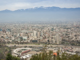 Overview of Santiago from Atop Cerro San Cristobal at Parque Metropolitano De Santiago Lámina fotográfica por Kimberly Walker