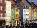 Nyhavn (New Harbour), Busy Restaurant and Bar Area, Copenhagen, Denmark, Scandinavia, Europe Photographic Print by Simon Montgomery