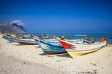Colourful Fishing Boats in Qalansia on the West Coast of the Island of Socotra, Yemen, Middle East Photographic Print by Michael Runkel