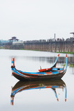 Colourful Boat and U Bein Bridge on Taungthaman Lake, Amarapura, Mandalay, Myanmar (Burma), Asia Photographic Print by Christian Kober