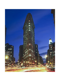 Flat Iron Building at Night 2 - New York City Landmark Street View Photographic Print by Henri Silberman