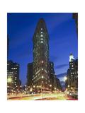 Flat Iron Building at Night 2 - New York City Landmark Street View Photographic Print by Henri Silberman