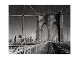 On The Brooklyn Bridge - Arches, Cables, Manhattan View, Day Reproduction photographique par Henri Silberman