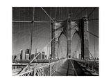 On The Brooklyn Bridge - Arches, Cables, Manhattan View, Day Photographic Print by Henri Silberman