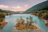 Small Island with Trees at Baishuihe, White Water River in Yunnan, China, Asia Photographic Print by Andreas Brandl