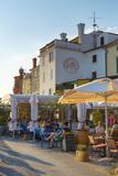 Cafe, Presernovo Nabrezje, Old Town, Piran, Primorska, Slovenian Istria, Slovenia, Europe Photographic Print by Alan Copson