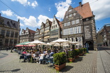 Beer Garden in Front of Old Hanse Houses on the Market Square of Bremen, Germany, Europe Photographic Print by Michael Runkel