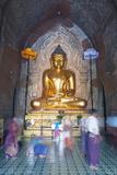 People Praying, Htilominlo Pahto Temple, Bagan (Pagan), Myanmar (Burma), Asia Photographic Print by Christian Kober