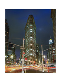 Flat Iron Building at Night - New York City Landmark Street View Photographic Print by Henri Silberman