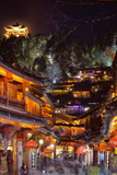 Busy Lijiang Old Town, at Night with Lion Hill and Wan Gu Tower, Lijiang, Yunnan, China, Asia Photographic Print by Andreas Brandl