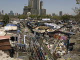 Dhobi Ghat, the Main City Laundries at Mahalaxmi, Mumbai, India, Asia Photographic Print by Tony Waltham