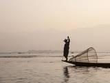 Intha Leg Rowing Fisherman at Dawn, Inle Lake, Nyaungshwe, Shan State, Myanmar (Burma), Asia Photographic Print by Stephen Studd