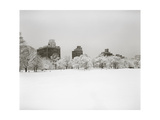 Prospect Park, Brooklyn In Snow - Prospect Park West Buildings Photographic Print by Henri Silberman