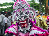 Colourful Dressed Masked Man in the Carneval (Carnival) in Santo Domingo Photographic Print by Michael Runkel